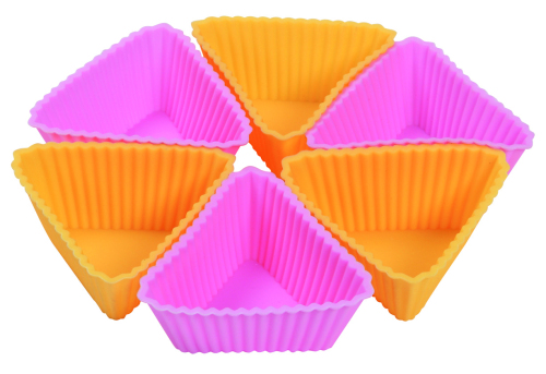 CXBC-6005	Silicone baking cup-  triangle 6pcs set